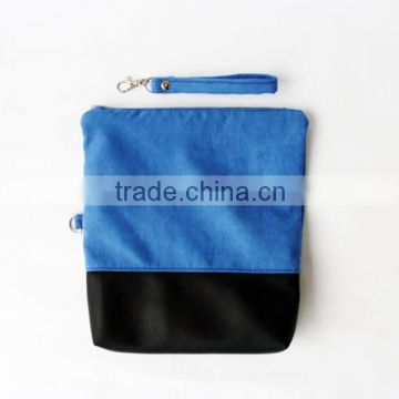 Blue Wristlet Suede Clutch Bags, Zip Fold Over Leather Purse, Faux Suede Leather Clutch Bag With Black Leather Bottom                                                                         Quality Choice
