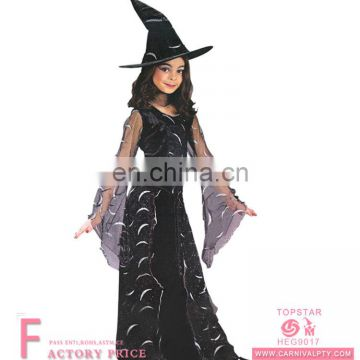 beautiful girls halloween black star witch costume with hooded cape witches costume set