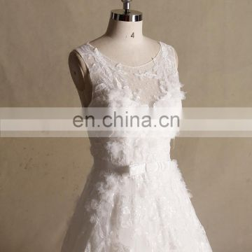 Gorgeous Scoop Neck Lace Applique Handmade Flowers A- line Wedding Gown Chapel Train