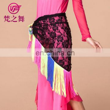 Y-2049 American hot sale colorful tassel belly dance lace scarf