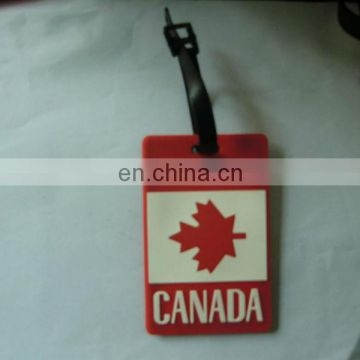 Canadian national flag PVC/rubber luggage tag