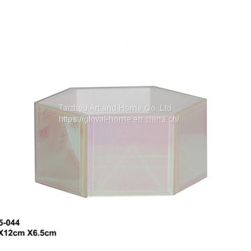 Colorful hexagonal glass jewelry box