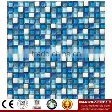 IMARK Electroplated Marble Mosaic Tile Mix Glass Mosaic Tile(IXGM8-018) for Wall Decoration