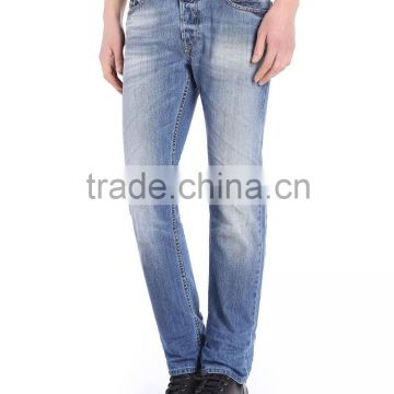 Bussiness casual men latest design jeans pants, basic style + stone washing,cheap straight leg jeans for men