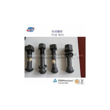 Rail fish bolt for railway fastening system, track bolt high tensile, railroad construction fastener bolt,Hex/oval head bolt
