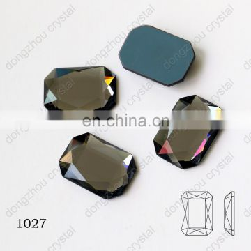 DZ-1027 rectangle shape flat back glass stone for jewelry making