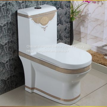 Chinese manufacturer ceramics siphonic one piece luxury square big purple color toilet wc
