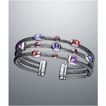 High Quality DY Inspired Sterling Silver Three-Row Berry Confetti Cable Cuff Bracelets