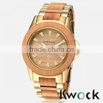 Metal Link Style Classic Yellow Gold Finish Metal and Brown Wood Classic Wooden Watch