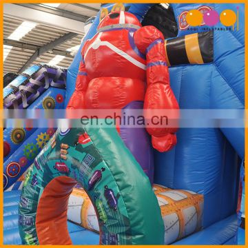 Robot factory inflatable fun city, jumping inflatable bouncer with slide