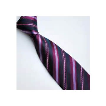 Summer Pink Polyester Woven Necktie High Stitches Adult