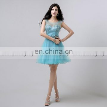Wholesale Cap Sleeve Open Back Crystal Beaded Short Cocktail Dress Party Dresses AJ032