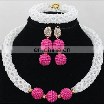 Nigeria party necklace earrings bracelet\Wedding jewelry set 3 in one\Handwork jewelry on sale