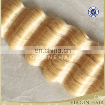 100% full cuticle top quality wholesale price peruvian 26inch human sew in human hair extensions blonde