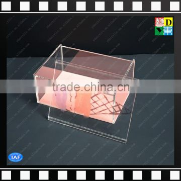 2016 custom design clear acrylic crystal pink storage box with top/cover for candy/cosmetic/jewelry/paper