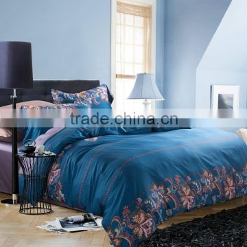 HOT sale comforter and luxury blue silk duvet/quilt cover Bedding Sets queen size