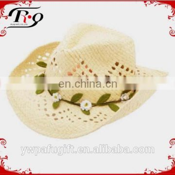 floral chain cut-outs cowgirl straw hat