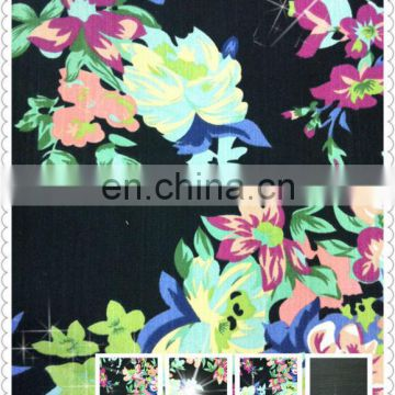 new cotton polyester spandex big floral print pant twills jeans price