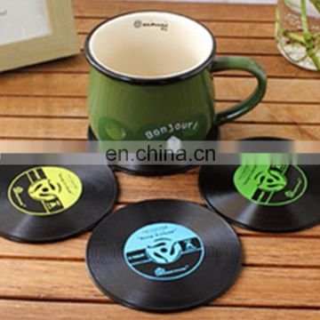 Wholesale Cup Lids, Drop Shipping Coffee Cup Pad,Coaster Mat Decoration,Retro Black Vinyl CD Pattern Diameter:10cm 4PCS mixed di