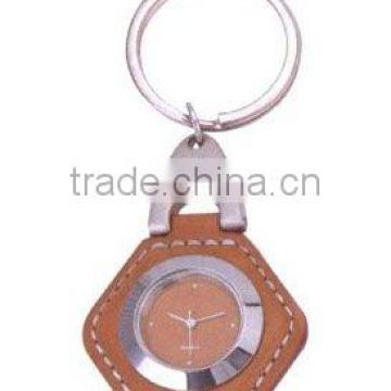 Square clock keychain with leather