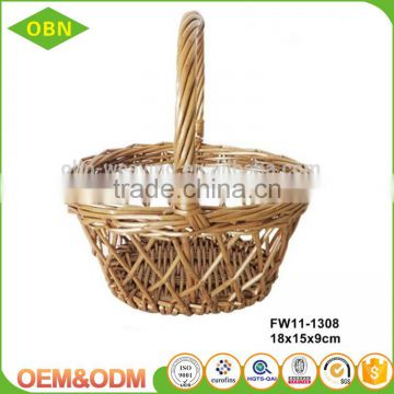 Custom size small hanging storage wholesale wicker basket with handle for gift