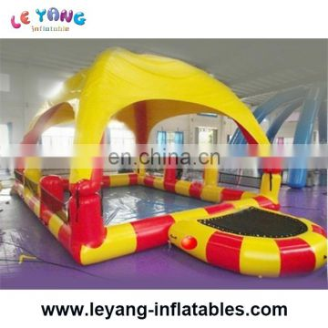 0.9mm PVC tarpaulin 8m inflatable pool with tent and with two trampoline for amusement park