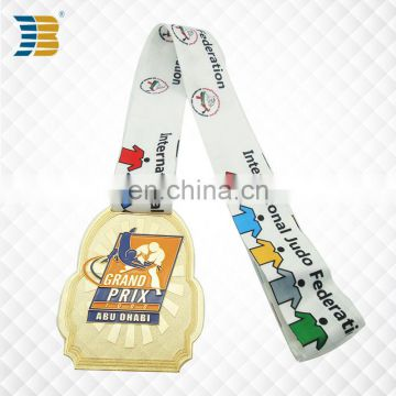 UAE custom painted gold plating judo award sports medal with ribbon
