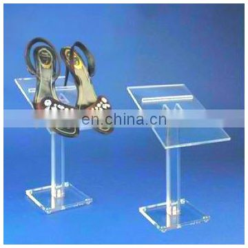 supporting clear pmma plexiglass shoe display stand acrylic shoe display