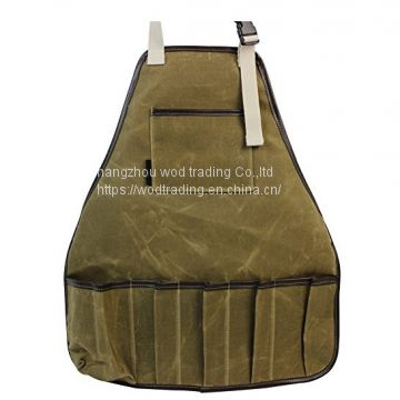 Waxed canvas work bib apron with many pockets for garden