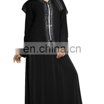 2017 Dubai Islamic Wear Abaya Burkha With Attached Chain Chiffon Jacket For Women's Casual Party Wear