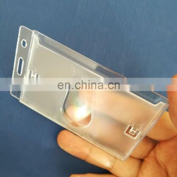Clear hard plastic vertical card holder for RFID tag
