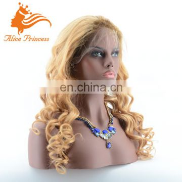 Unprocessed Body Wave Ombre #2T#27 Color Full Lace Human Hair Wig Virgin Brazilian Human Hair Wig With Baby Hair