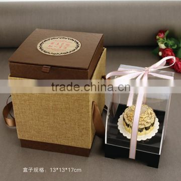 Chinese Style Gifts Gold Mooncake with rich and honored, being in full flower Chinese blessing hua kai fu gui
