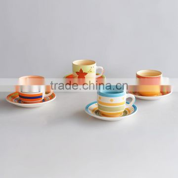 220cc ceramic cup and saucer with two side hand-painted