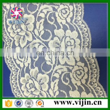 wholesale low price high quality elastic lace wide knitted lace for dress blouse clothes