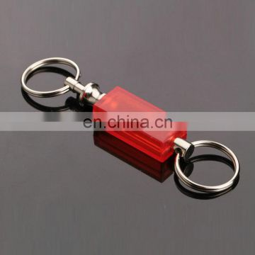 2016 promotional wholesale new style rubber plastic red color double ring keychain