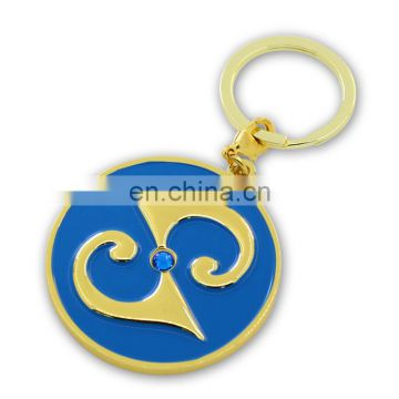 Custom round gold enamel metal keychain with crystal