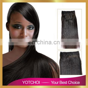 Hair products 10pcs weft with beautiful net strong sawed clip darkest brown remy hair clip in hair extensions