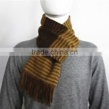 Yellow Stripe Wool Scarf with Fringe
