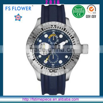 FS FLOWER - Heavy Big Mens Watches Big Wrists Silicone Bracelet Watch Multi-Function 10 ATM Waterproof