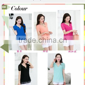 Factory chiffon Blouse shirts short sleeves chiffon top clothings for woman