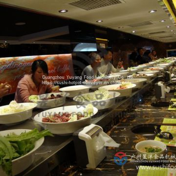 Buffet Equipment Customized Automatic Hot Pot Rotary Sushi Conveyor Belt System for Restaurant