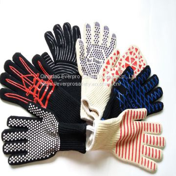 Cotton Aramid HPPE Liner Silicone Coated Heat Resistant Gloves , BBQ gloves , High Temperature Gloves