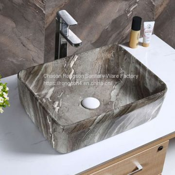 Best quality sanitary ware bathroom square modern green wash basin sink from chaozhou Rongson