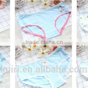 2017 Sexy women full cotton underwear cute preteen girls panties wholesale Yellow color Panties Briefs