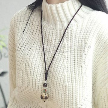 Bodhi child simple folk style necklace accessories, dress sweater chain length, all-match winter wood rope