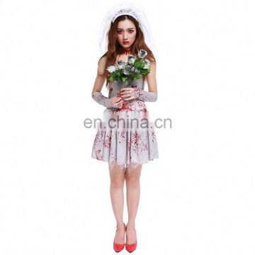 2017 Latest Design Women Zombie Cosplay Blood Ghost Bride Halloween Costume Masquerade