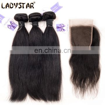 Ladystar Brazilian Hair Premium Quality 100% Human Hair Straight Wave Human Hair 3 Bundles With 4*4 Lace Closure