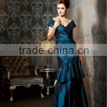 2013 beaded appliqued V-neckline night blue floor length custom-made mother of the bride dresses CWFam4597