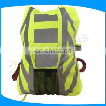 yellow color high visibility waterproof reflective safety backpack for outdoors